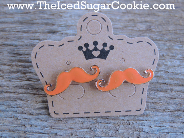 Sweet Orange Mustache Earrings The Iced Sugar Cookie Fashion Style 2016 Summer Cute Unique Funny