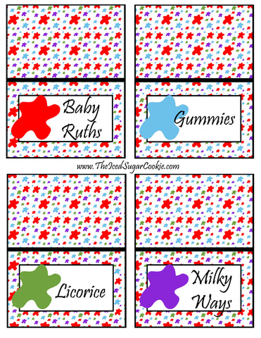 Art Paint Birthday Party Printable Food Tent Cards Baby Ruths Gummies Licorice and Milky Ways by The Iced Sugar Cookie