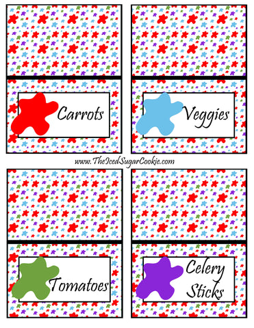 Paint Artist Birthday Party Food Tent Cards Printable Cutout Template Pattern- Carrots, Veggies, Tomatoes, Celery Sticks by The Iced Sugar Cookie