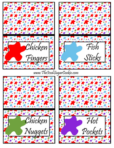 Paint Artist Birthday Party Food Tent Cards Cutout Printable Template Pattern- Chicken Fingers, Fish Sticks, Chicken Nuggets, Hot Pockets