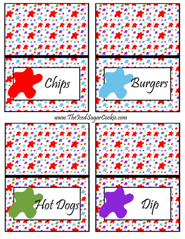 Paint Artist Birthday Party Food Tent Cards-Cutout Printable Template Pattern Chips, Burgers, Hot Dogs, Dip by The Iced Sugar Cookie