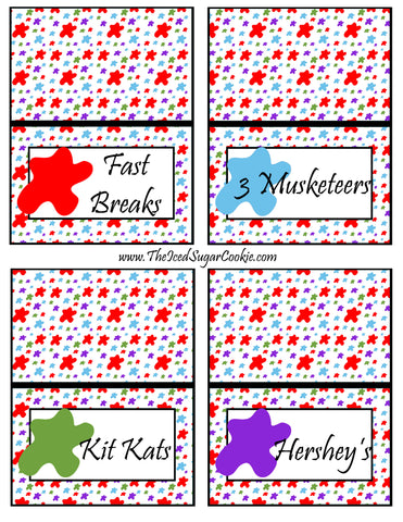 Paint Artist Birthday Party Food Tent Cards- Pattern Cutout Template Printable Fast Breaks, 3 Musketeers, Kit Kats, Hershey's by The Iced Sugar Cookie