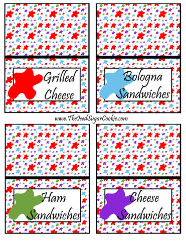 Paint Artist Birthday Party Food Tent Cards- Cutout Printable Template Pattern  Grilled Cheese, Bologna Sandwiches, Ham Sandwiches, Cheese Sandwiches by The Iced Sugar Cookie