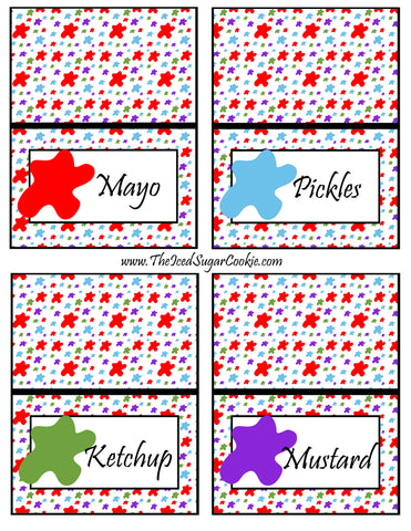 Paint Artist Birthday Party Food Tent Cards- Mayo, Pickles, Ketchup, Mustard Cutout Printout Template Pattern by The Iced Sugar Cookie