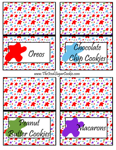 Paint Artist Birthday Party Food Tent Cards- Oreos, Chocolate Chip Cookies, Peanut Butter Cookies, Macarons Printable Cutout Template Pattern by The Iced Sugar Cookie