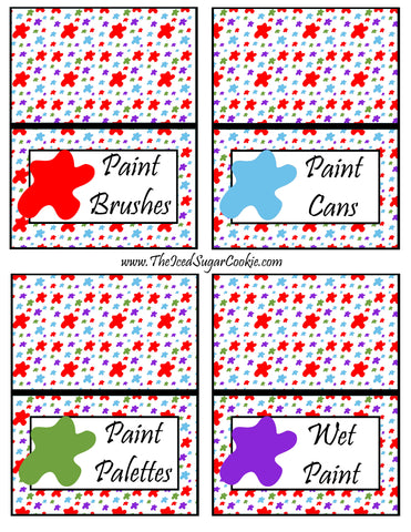Paint Artist Birthday Party Food Tent Cards Cutout Printable Template Pattern- Paint Brushes, Paint Cans, Paint Palettes, Wet Paint by The Iced Sugar Cookie