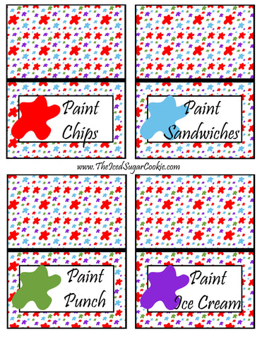 Paint Artist Birthday Party Food Tent Cards- Paint Chips, Paint Sandwiches, Paint Punch, Paint Ice Cream Cutout Printable Template Pattern By The Iced Sugar Cookie