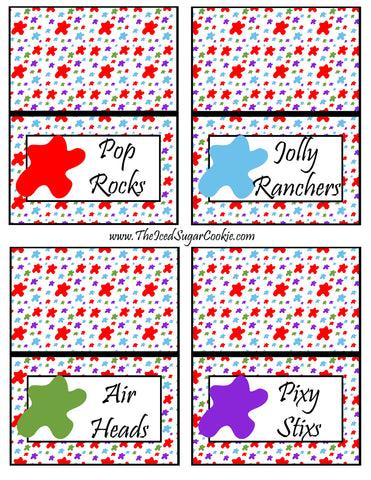 Paint Artist Birthday Party Food Tent Cards- Pop Rocks, Jolly Ranchers, Air Heads, Pixy Stixs Cutout Printable Pattern Template by The Iced Sugar Cookie