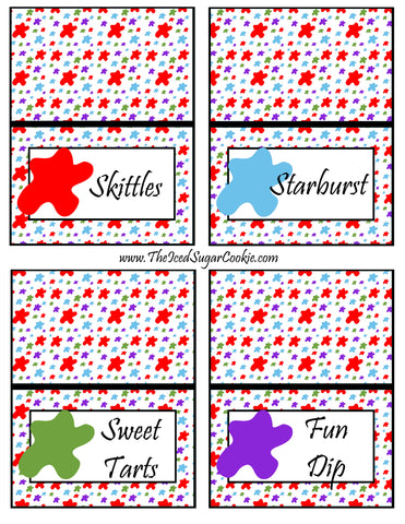 Paint Artist Birthday Party Food Tent Cards Printable Template Cutout Pattern by The Iced Sugar Cookie- Skittles, Starburst, Sweet Tarts, Fun Dip