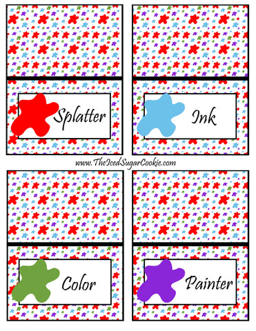 Paint Artist Birthday Party Food Tent Cards- Splatter, Ink, Color, Painter Cutout Printable Template Pattern by The Iced Sugar Cookie