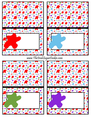 Paint Artist Birthday Party Food Tent Cards- Blank Cards Printable Template Cutouts Pattern By The Iced Sugar Cookie