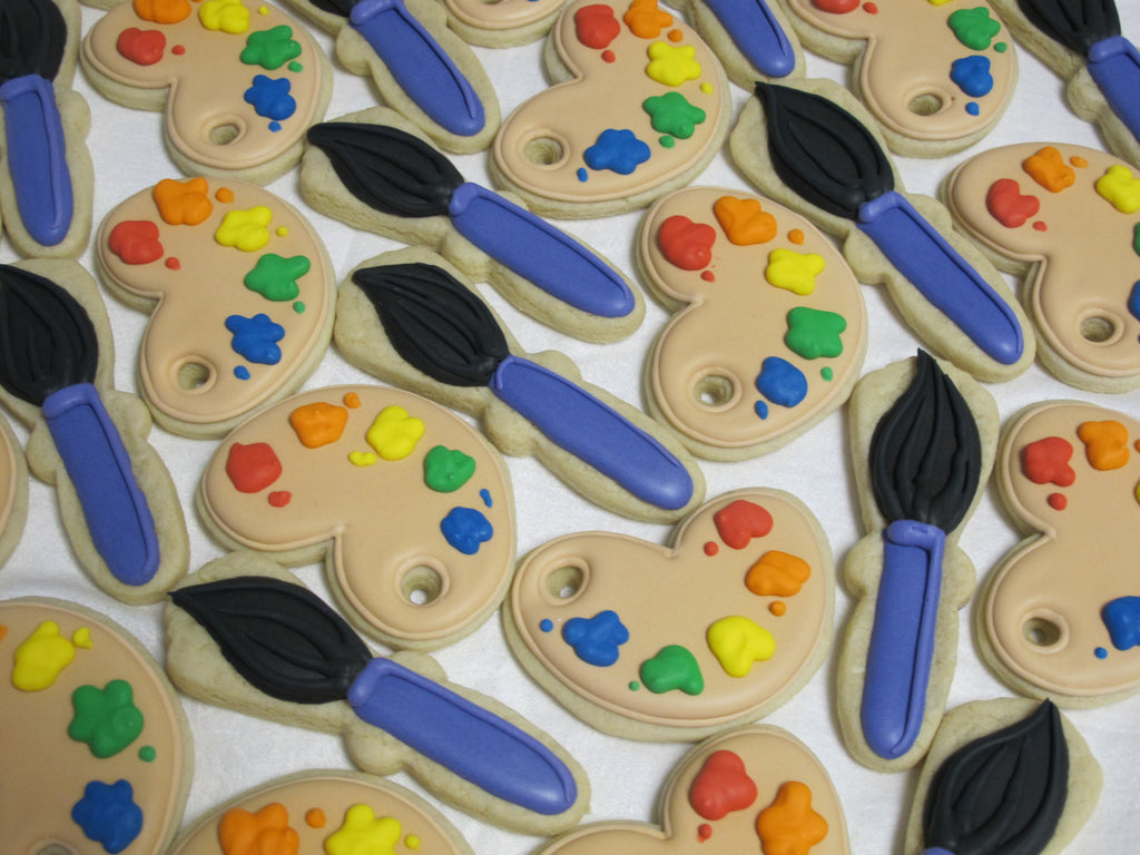 Artist Birthday Party Cookies-Painter Cookies-Paint Palette Paint Brush Cookies TheIcedSugarCookie.com Marta Ingros Cakes and Cookies
