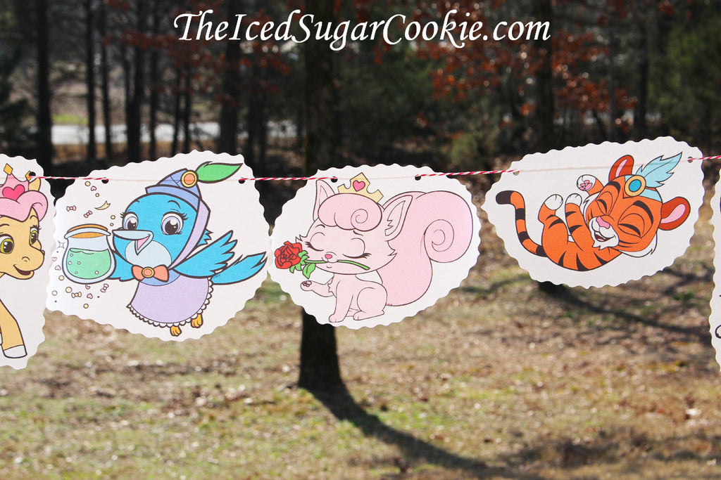 Whisker Haven Palace Pets Birthday Party-DIY Idea Flag Hanging Banner-Pumpkin, Treasure, Petite, Mr. Featherbon, Dreamy, Sultan, Berry