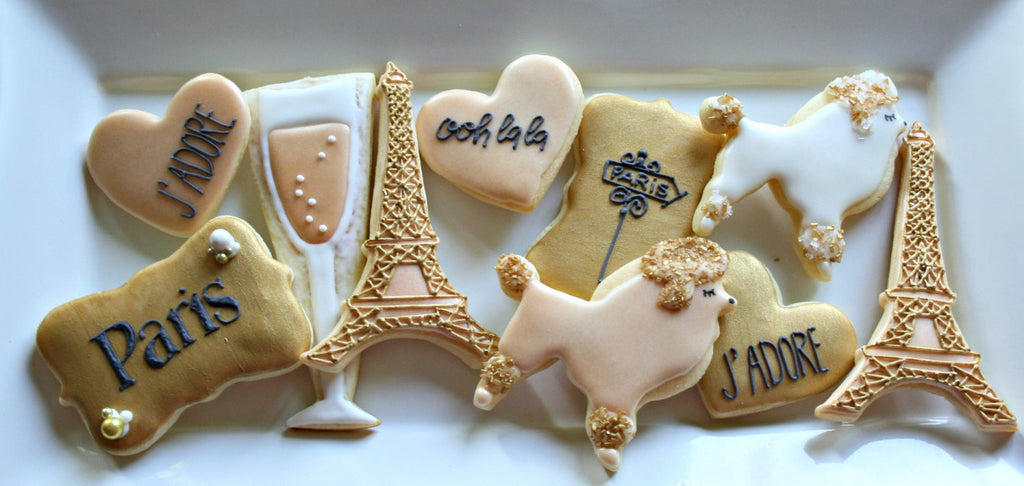 Poodles In Paris Birthday Party Sugar Cookies TheIcedSugarCookie.com MaMiMor Cookies