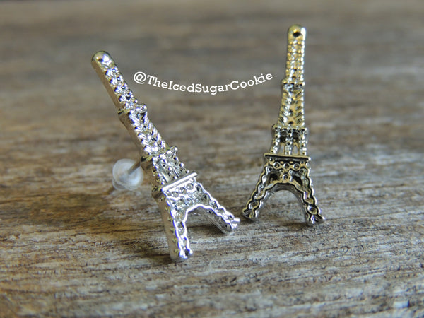 Paris Eiffel Tower Silver And Gold Earrings The Iced Sugar Cookie Jewelry Store Shop Paris Earrings Paris Earrings Paris Earrings Paris Earrings