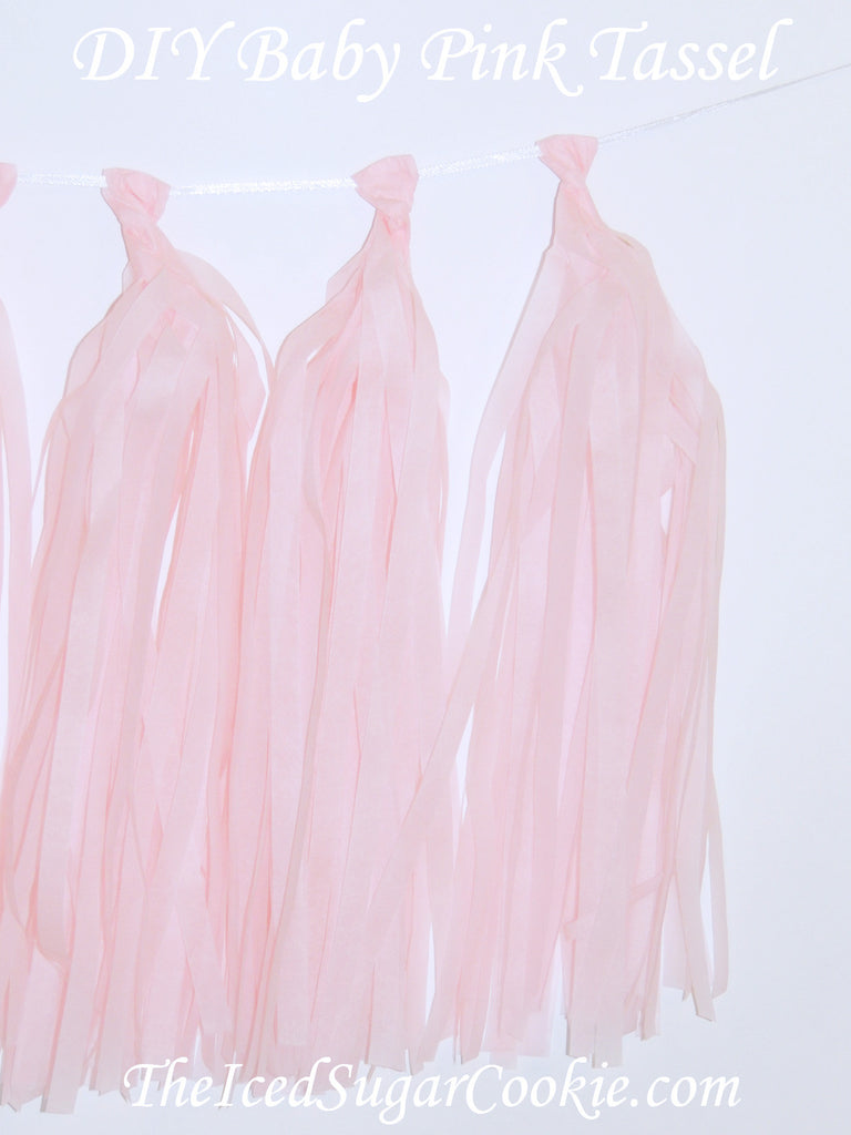 DIY Baby Pink Tissue Paper Tassel Garland Birthday Party Banner TheIcedSugarCookie.com