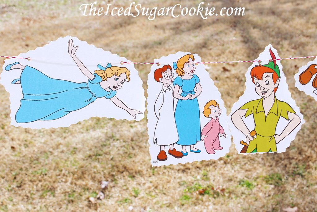 Peter Pan Birthday Party Neverland Tinkerbell John Michael Wendy Flag bunting Banner Garland DIY idea-TheIcedSugarCookie.com