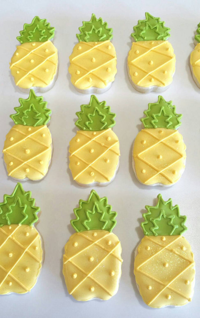 Tropical Pineapple Birthday Party Sugar Cookies TheIcedSugarCookie.com Kessa Cakes