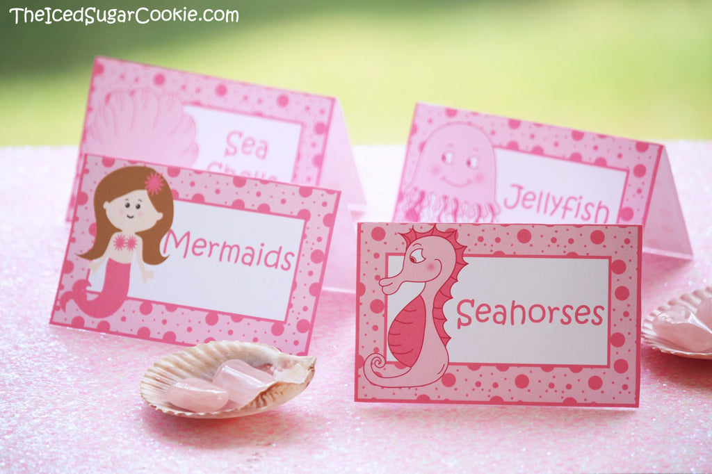 Mermaids, Seahorse, Jellyfish, Sea Shell birthday party printables