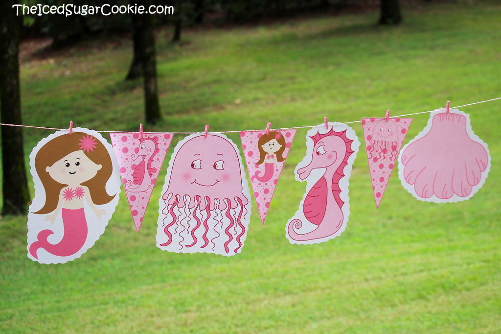 Mermaid Birthday Party Printables Under the sea