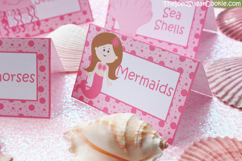 DIY Pink Mermaid Birthday Party Food Label Tent Cards Cupcake Toppers Flag Banners