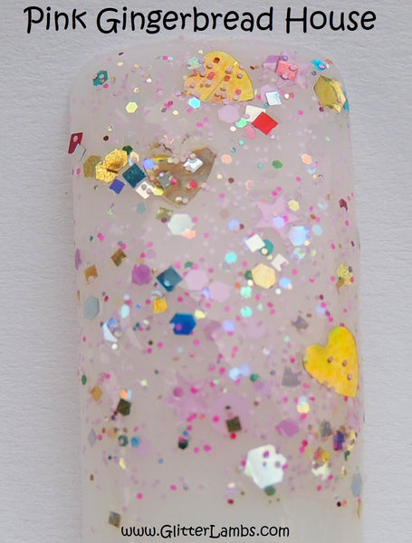 Glitter Lambs Pink Gingerbread House Nail Polish. Christmas Holiday Nails. www.TheIcedSugarCookie.com #nails