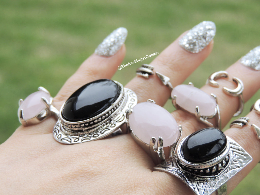Pink Sugary Lemonade Rings Moonstone Opal Color Shifting Ring The Iced Sugar Cookie Jewelry Cheap Midi Knuckle Rings Boho Bohemian Tribal Hipster Hippy Coachella