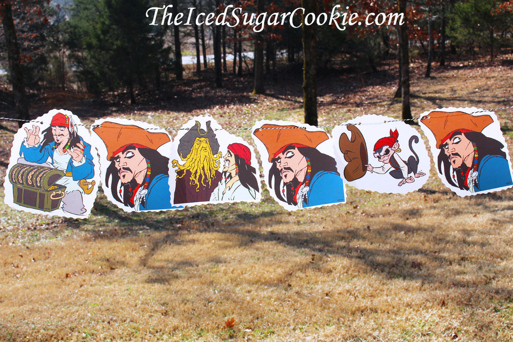 Pirates Of The Caribbean Birthday Party DIY Banner-Jack Sparrow, Jack The Monkey, Davy Jones