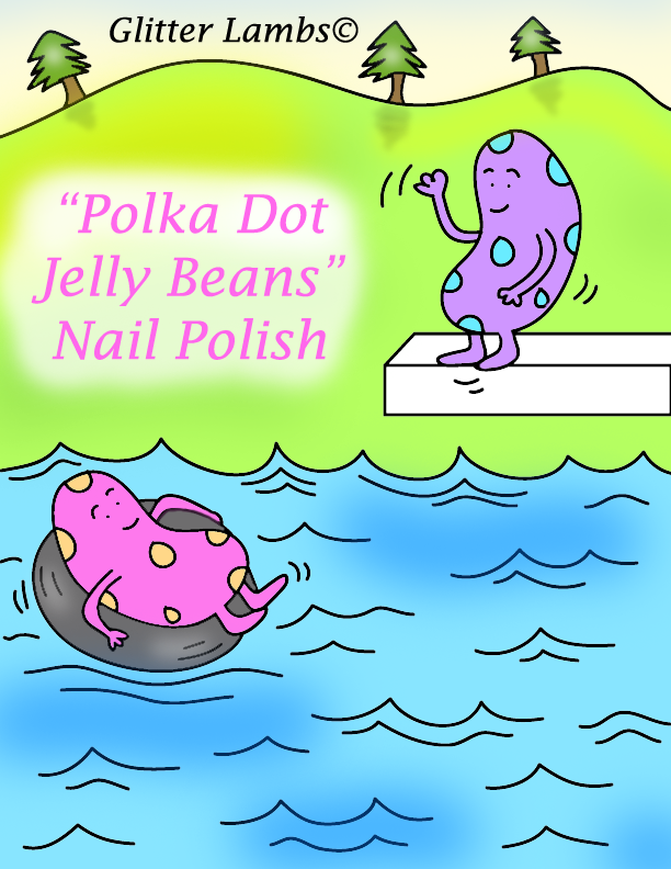 Polka Dot Jelly Beans Glitter Lambs Nail Polish. wwwTheIcedSugarCookie.com Pink Glitter Topper Indie Custom Handmade nail polishes for your nails. Cartoon illustration drawing of two polka dot jelly beans swimming.