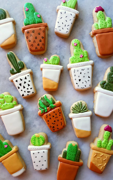 Potted Cactus Plants Sugar Cookies Merci Bakery TheIcedSugarCookie.com