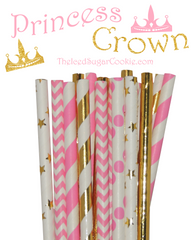 Princess Crown Pink Gold Paper Straw Mix by The Iced Sugar Cookie- Birthday Wedding Bridal Shower DIY Birthday Party Ideas and Printables