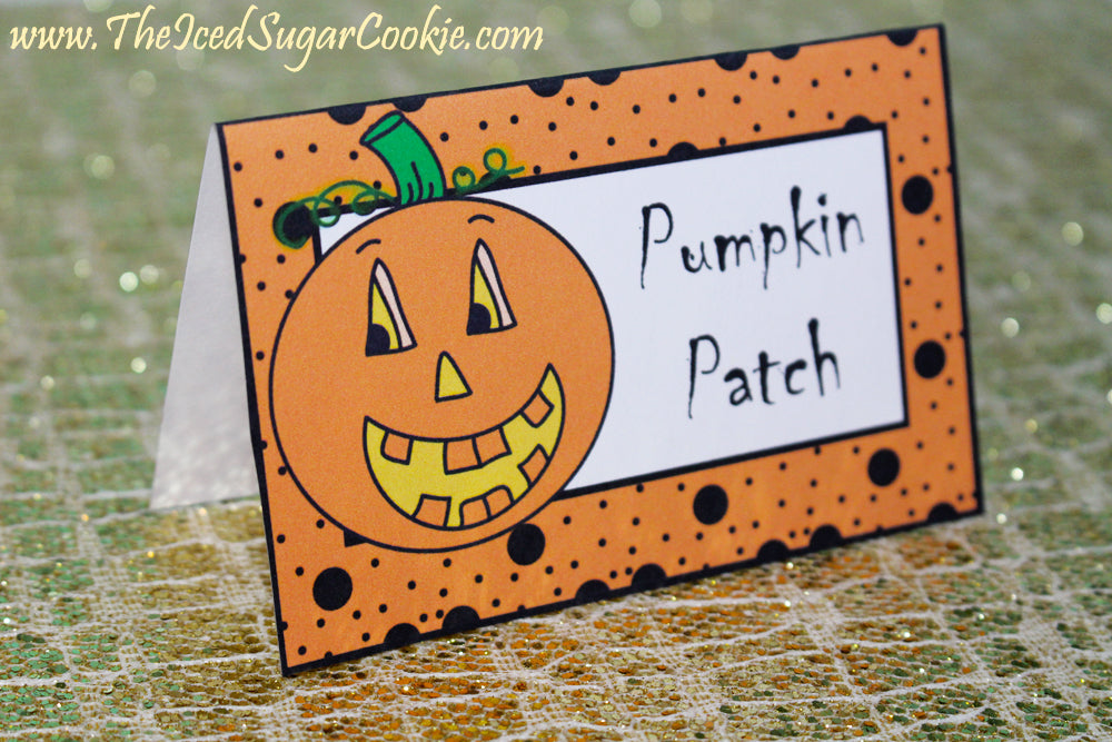 Pumpkin Food Label Tent Cards Printable Template Cutouts-Fall Birthday Party-Pumpkin Patch, Pumpkin Drinks, Pretzel Pumpkins, Pumpkin Crunch by The Iced Sugar Cookie