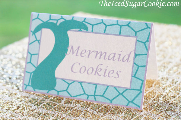 printable purple aqua mermaid food label cards digital download