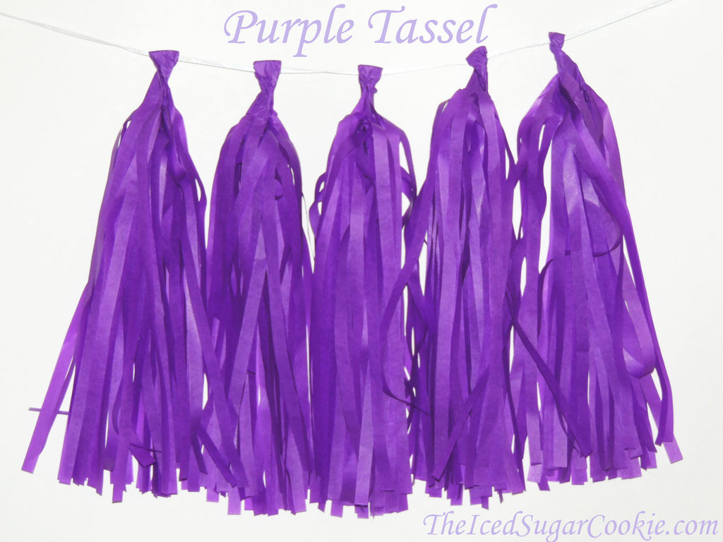 Purple Tissue Paper Tassel Garland Banner Birthday Party DIY TheIcedSugarCookie.com
