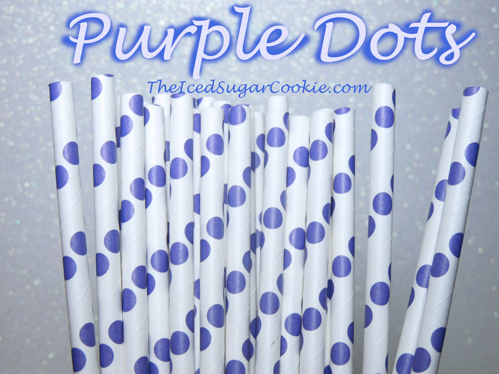 Purple Dots Birthday Party Straws TheIcedSugarCookie.com