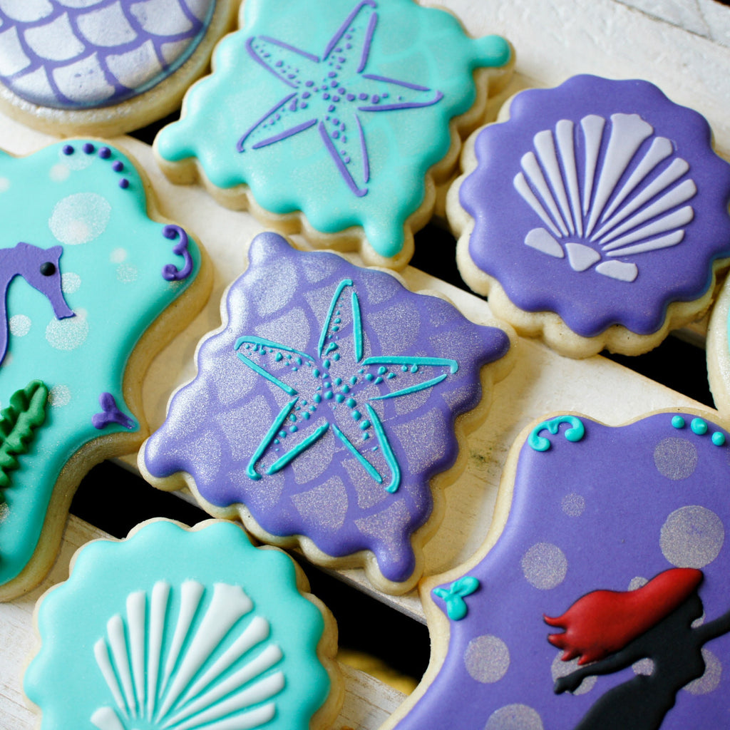 Elegant Purple & Aqua Mermaid Under The Sea Birthday Party Sugar Cookies