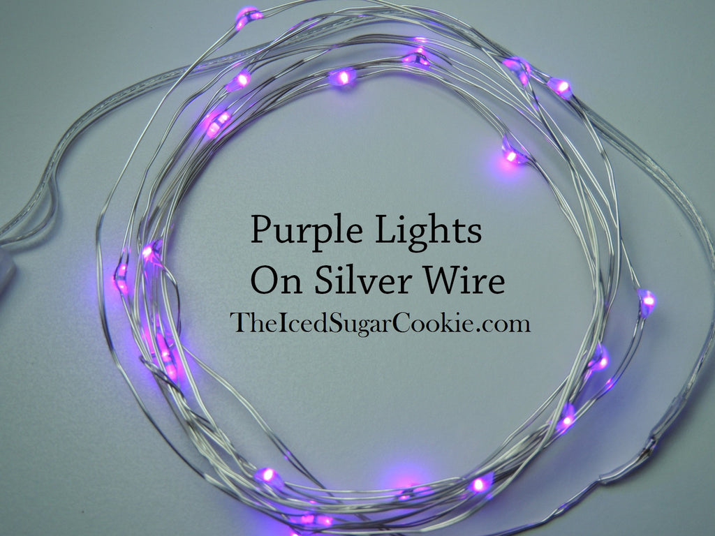 Purple LED Battery Operated Party Fairy Lights TheIcedSugarCookie.com