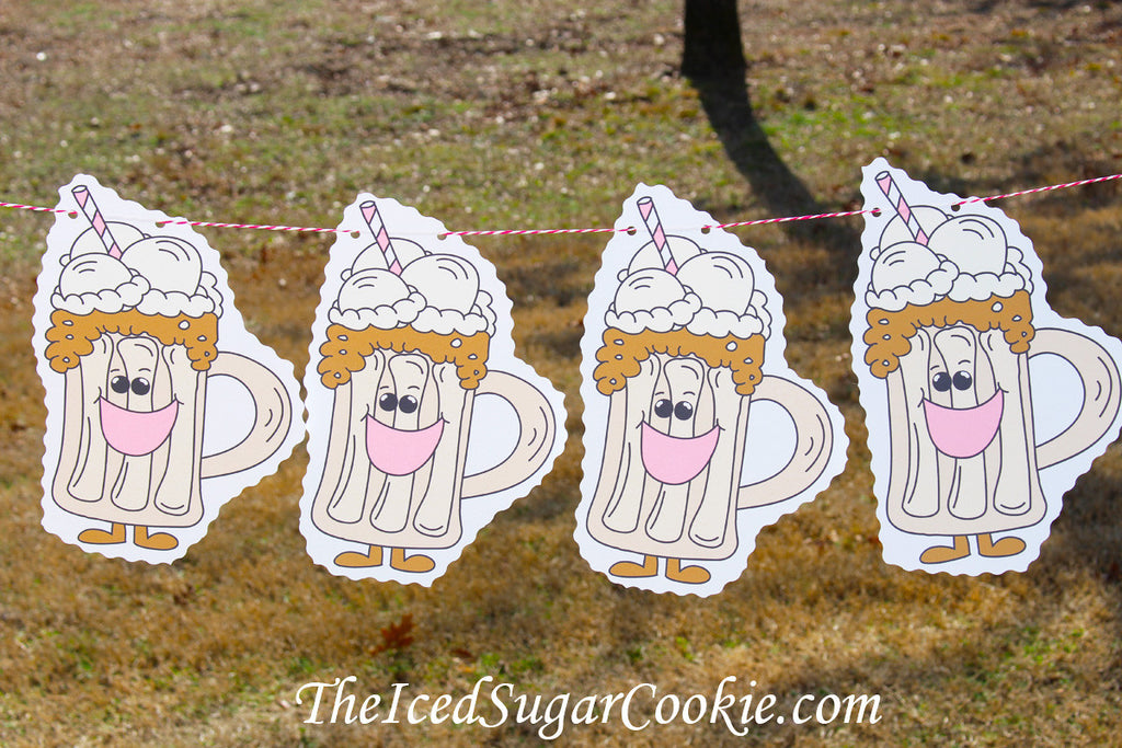 Root Beer Float Birthday Party Flag Hanging Banner Garland Clipart Cartoon-Root Beer Party