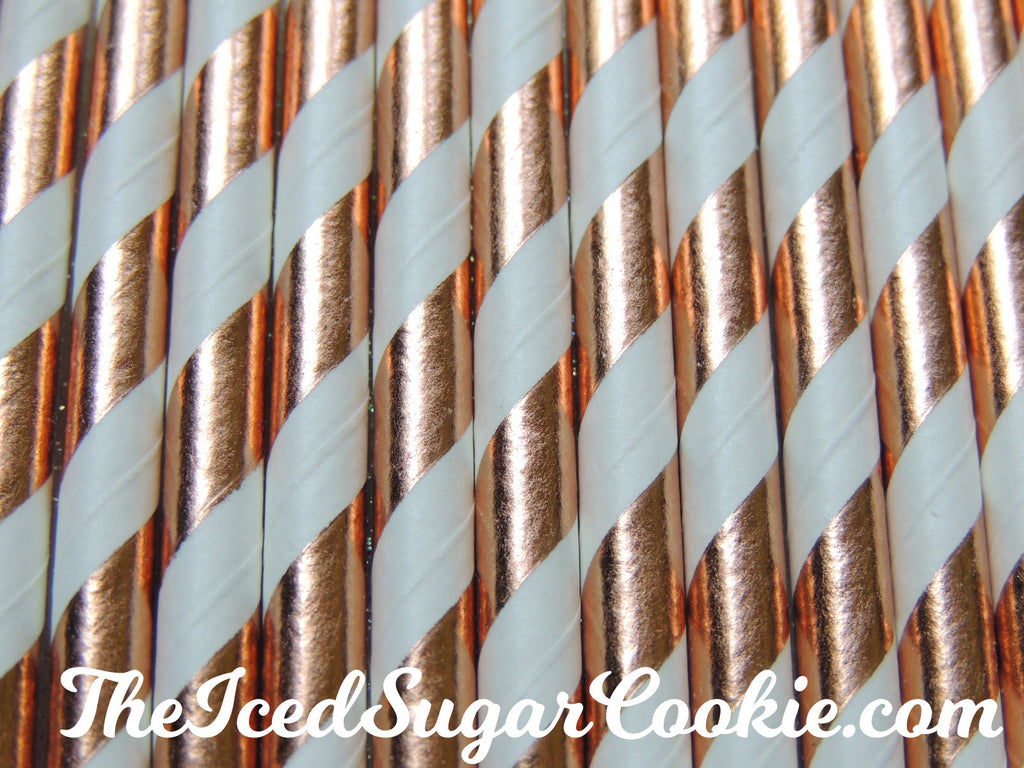 Rose Gold Copper Stripe Paper Straws TheIcedSugarCookie.com