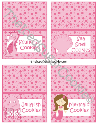 "Pink Mermaid ""Under The Sea"" Birthday Party Food Label Tent Cards-Printable Template for a DIY Mermaid Under The Sea Birthday Party by The Iced Sugar Cookie-Jellyfish Cookies, Seahorse Cookies, Mermaid Cookies, Sea Shells Cookies"