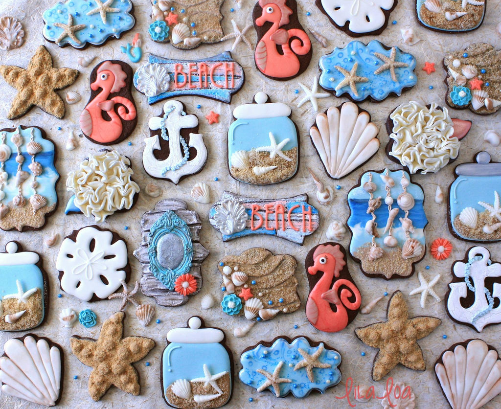 Beach Themed Seashell & Seahorse Decorated Sugar Cookies TheIcedSugarCookie.com LilaLoa Cookies Georganne Bell