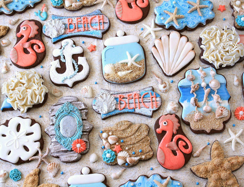 Beach Themed Seashell And Seahorse Sugar Cookies TheIcedSugarCookie Lila Loa