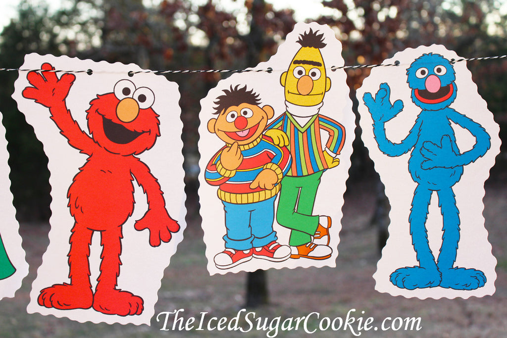 Sesame Street Birthday Party Flag Hanging Bunting Garland Banner DIY Idea-Big Bird, Cookie Monster, Oscar The Grouch, Grover, Bert and Ernie, Elmo, Count Dracula