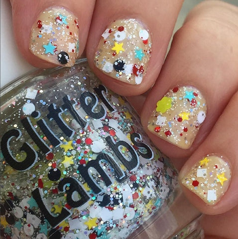 "Glitter Lambs ""Bunnies And Teacups"" Nail Polish. www.TheIcedSugarCookie.com Handmade Custom nail polishes for your nails. #nails"