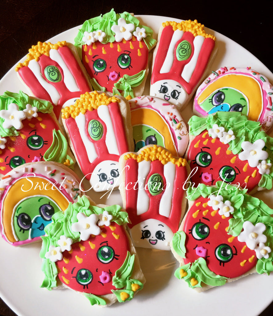 Shopkins Birthday Party Sugar Cookies TheIcedSugarCookie.com Sweet Confections Jess