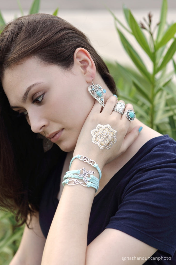 Faux Mint Aqua Butterfly Faux Leather Bracelet by The Iced Sugar Cookie Model Paula Photo by Nathan Duncan Photo