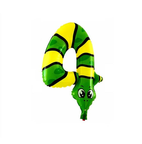 Snake birthday party balloon number 4 four. Great for a Safari birthday party, reptile birthday party, Kaa Jungle Book birthday party.