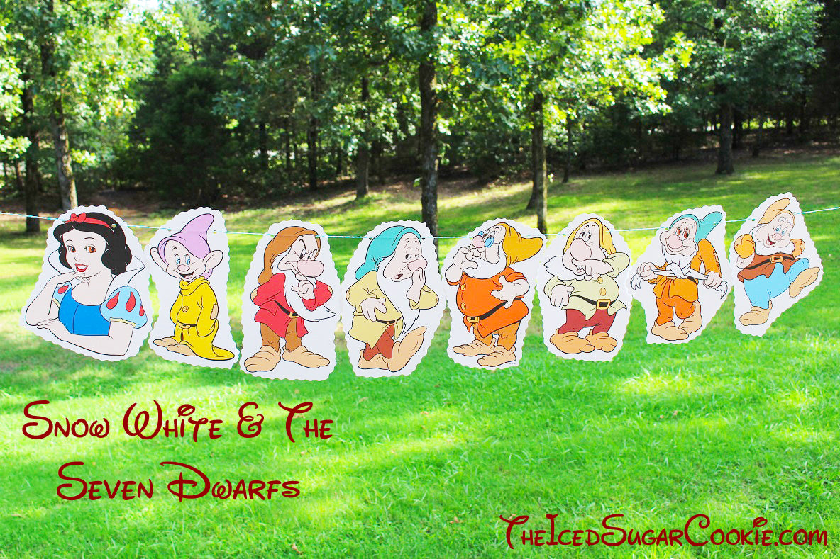 DIY Snow White And The Seven Dwarfs Birthday Party Flag Hanging Banner Ideas- Dopey, Grumpy, Sleepy, Doc, Sneezy, Bashful, Happy