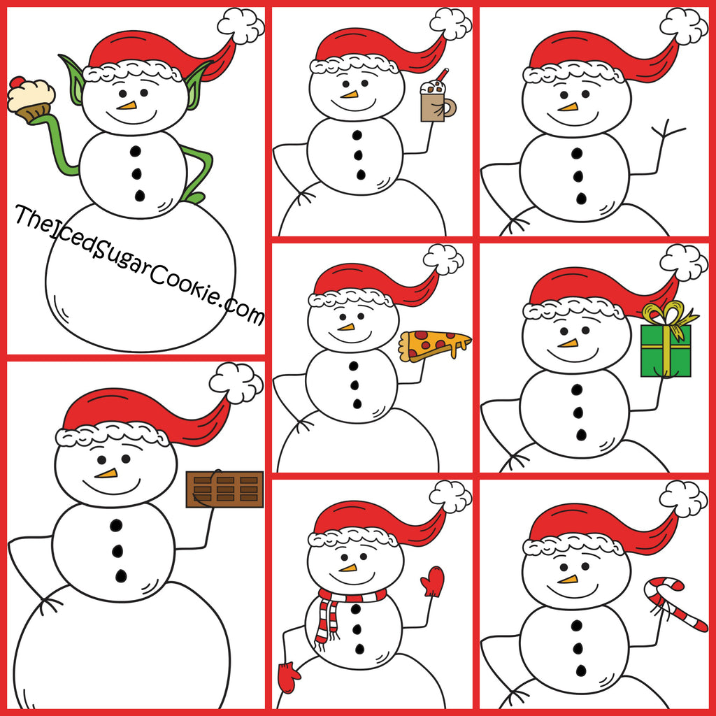 Snowman Christmas Clipart- DIGITAL DOWNLOAD- Christmas Graphics set for all your projects & ideas.   ★PERSONAL AND SMALL COMMERCIAL USE★   This Snowman Christmas clip art pack is perfect for creating handmade craft items, planner stickers, stationery, greeting cards, party invitations, or scrapbooking.   ♥Snowman Elf Holding A Cupcake ♥Snowman Holding A Christmas Present ♥Snowman Holding A Chocolate Bar ♥Snowman Holding Hot Chocolate ♥Snowman Holding Pizza ♥Snowman Holding Candy Cane ♥Snowman Wearing Scarf and Mittens ♥Snowman Waving