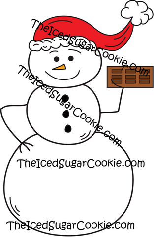 Snowman Holding Chocolate Bar Wearing Santa Hat Clip Art Christmas Graphics Pack Commercial Use